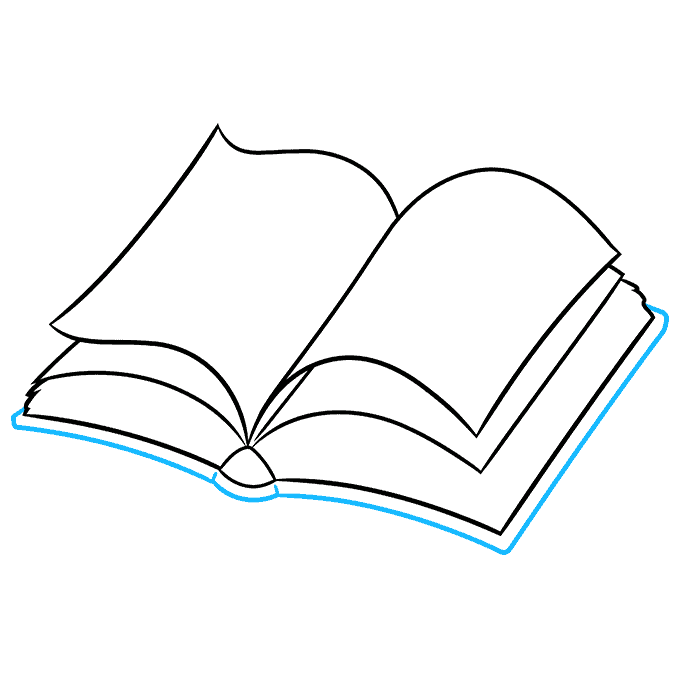 How to Draw Open Book: Step 5