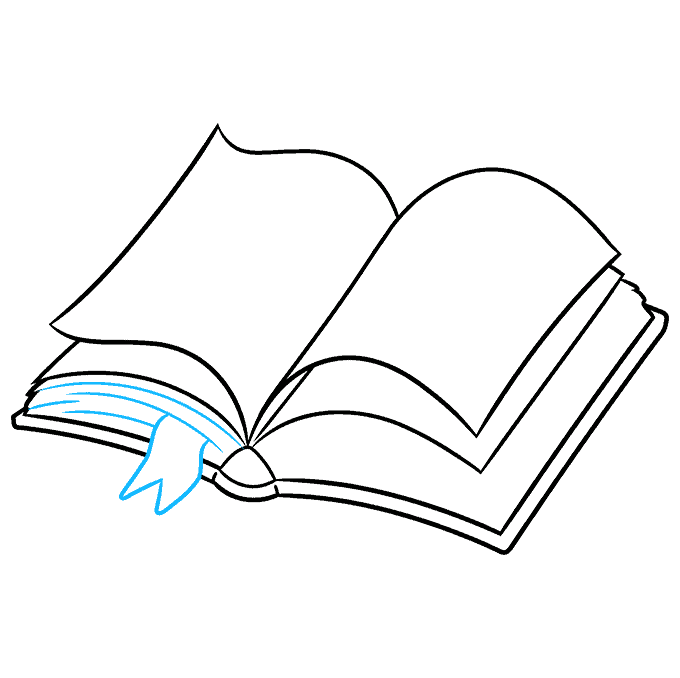 How to Draw Open Book: Step 6