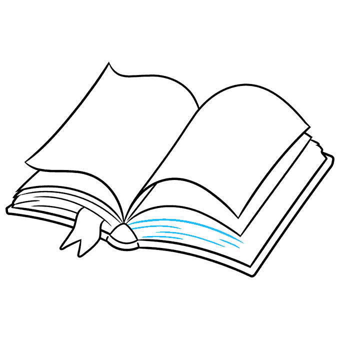 How to Draw Open Book: Step 7