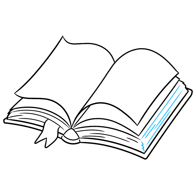 How to Draw Open Book: Step 8