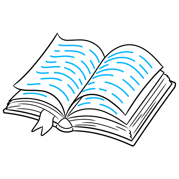 How to Draw Open Book: Step 9