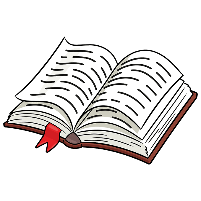 How to Draw Open Book: Step 10