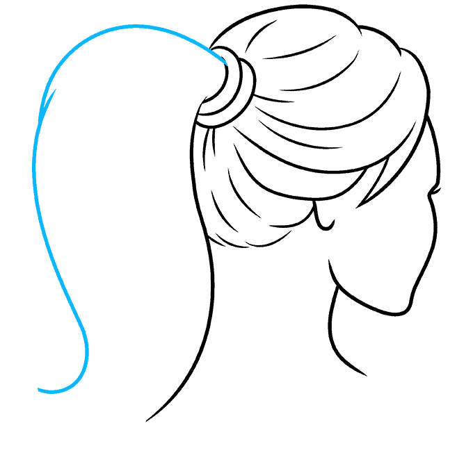 How to Draw Ponytail: Step 7