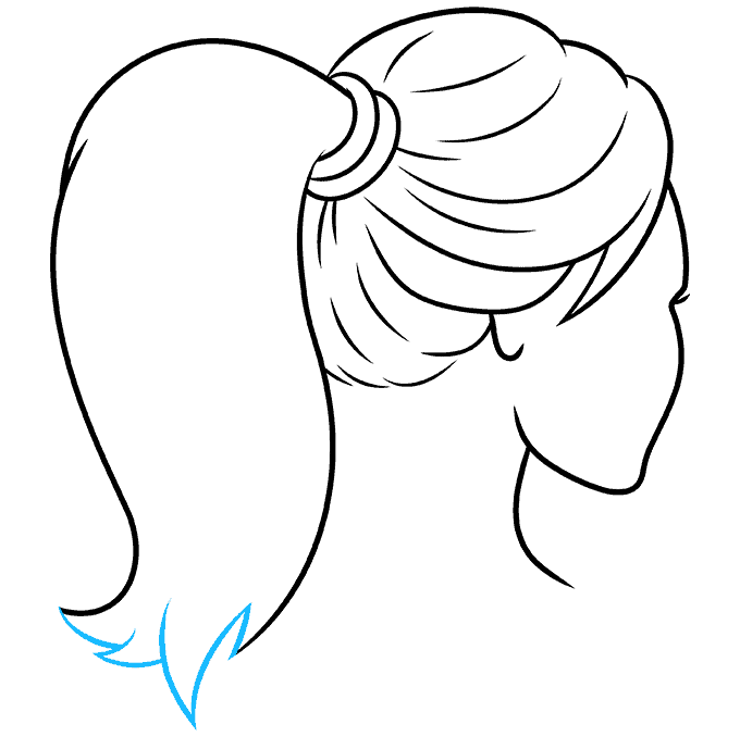 How to Draw Ponytail: Step 8