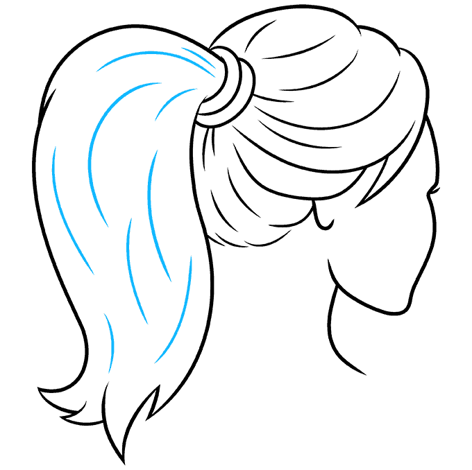 How to Draw Ponytail: Step 9