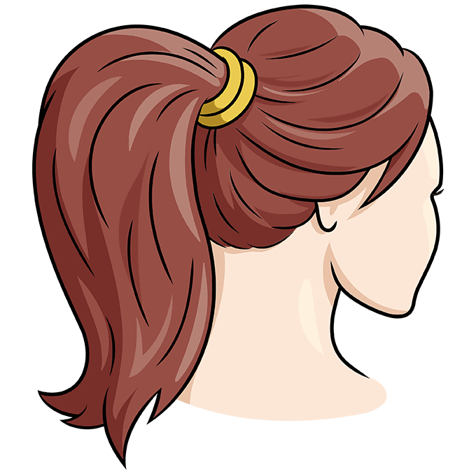 How to Draw Ponytail: Step 10