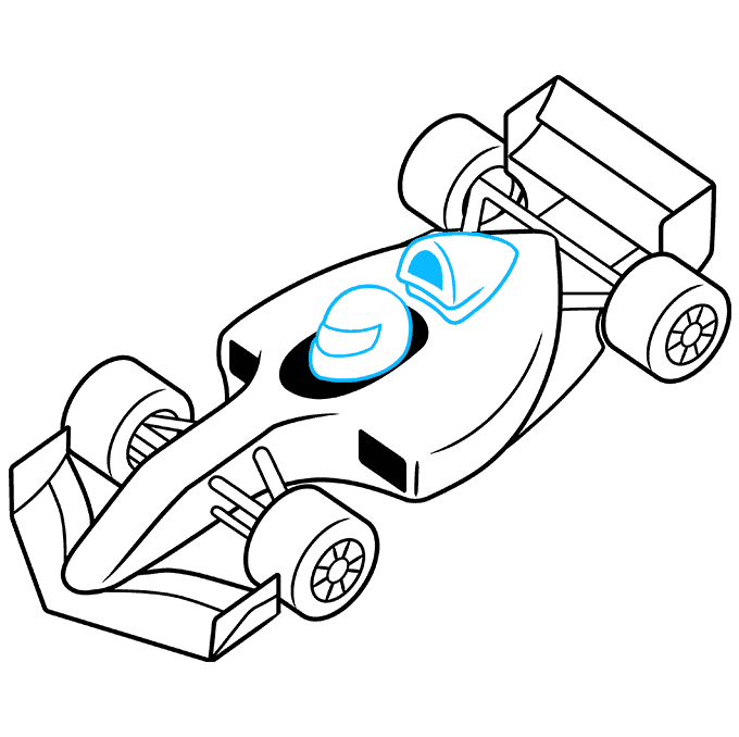 How to Draw Racecar: Step 9