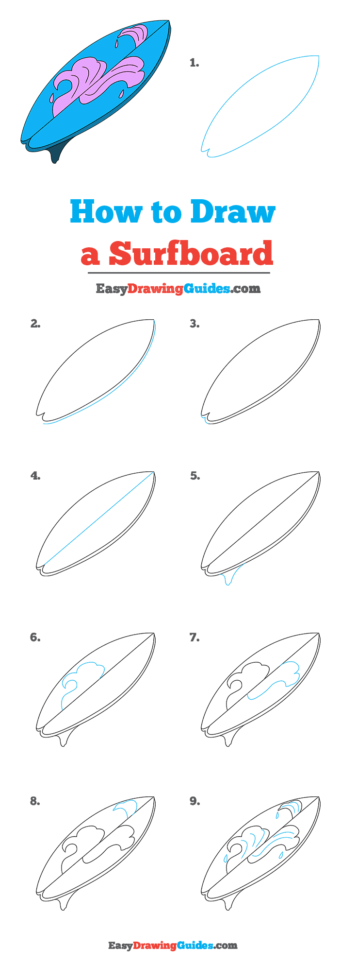 How to Draw a Surfboard Step by Step Tutorial Image