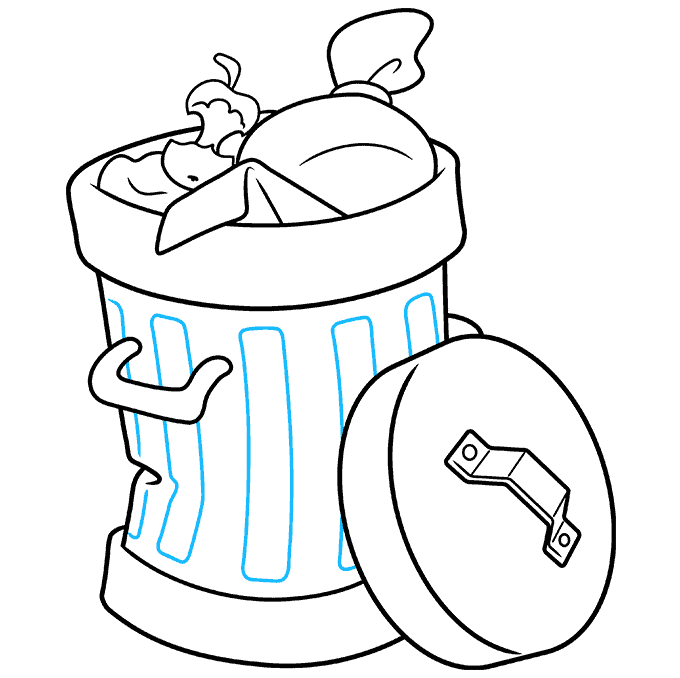 How to Draw Trash Can: Step 9