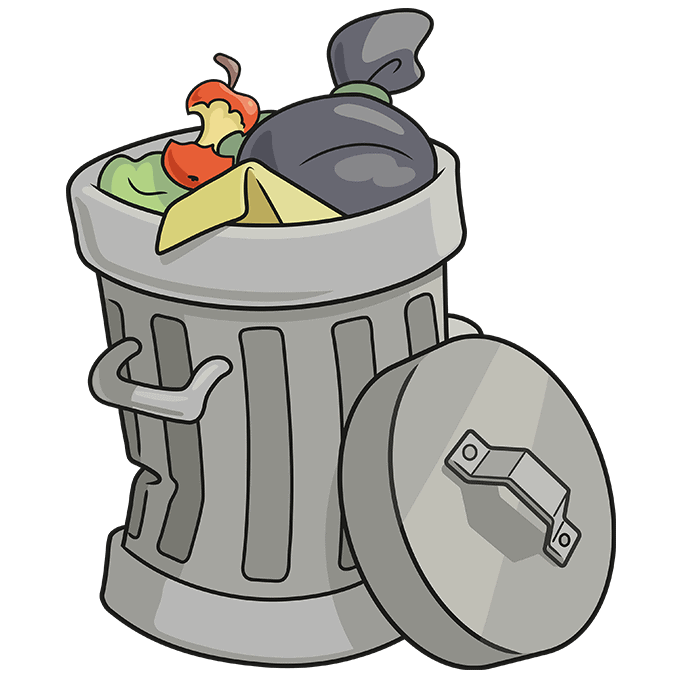 How to Draw Trash Can: Step 10