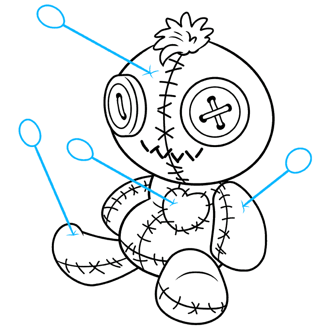 How to Draw Voodoo Doll: Step 9
