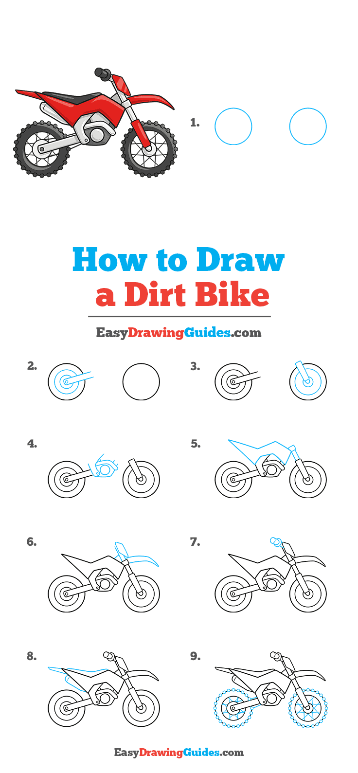 How to Draw a Dirt Bike Step by Step Tutorial Image