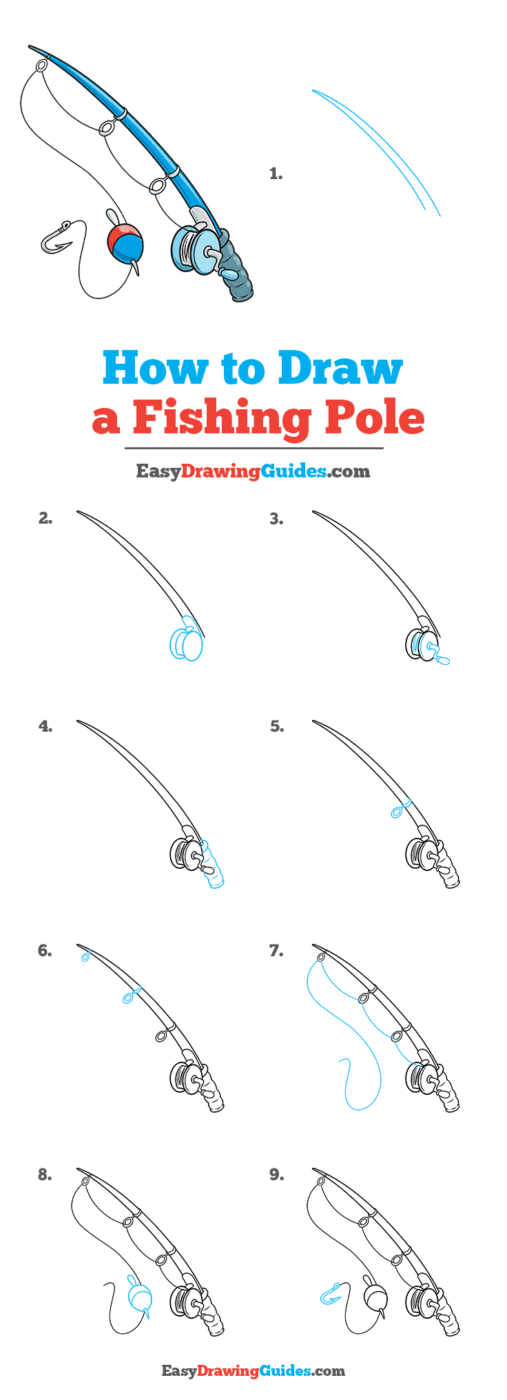 How to Draw a Fishing Pole Step by Step Tutorial Image