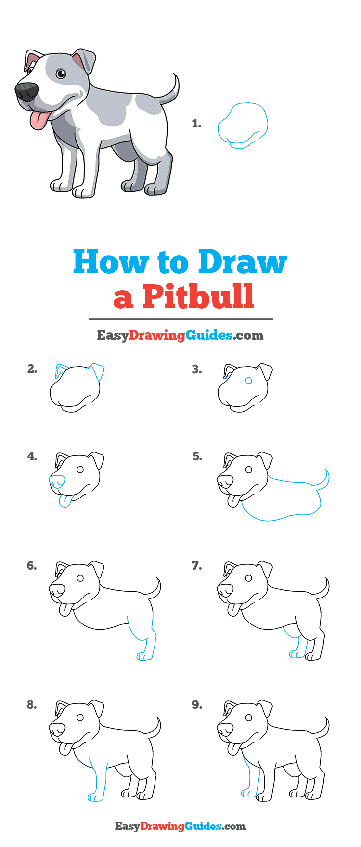 How to Draw a Pitbull Step by Step Tutorial Image