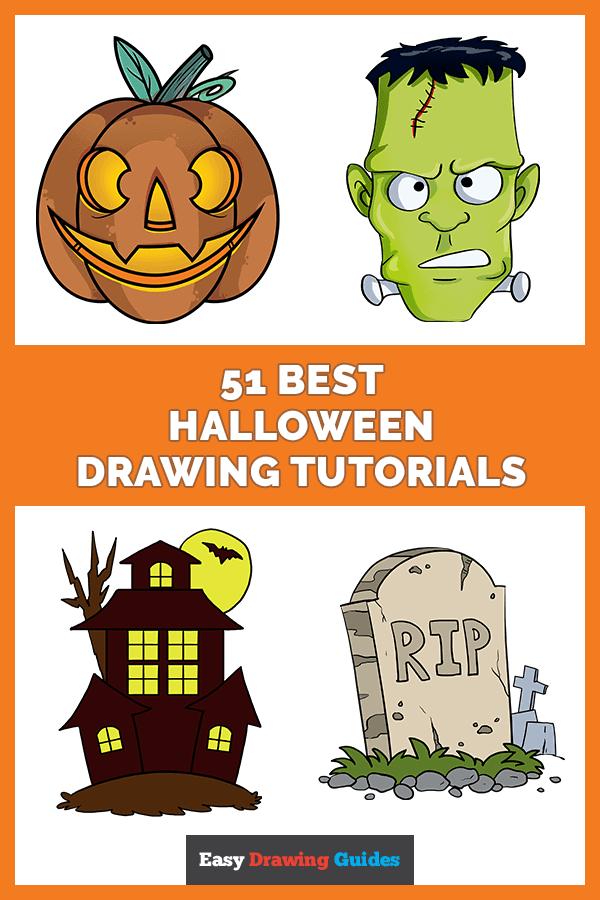 51 Best Halloween Drawing Tutorials - Pinterest image