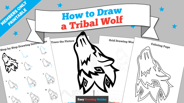 download a printable PDF of Tribal Wolf drawing tutorial