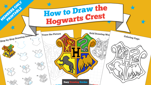 download a printable PDF of Hogwarts Crest drawing tutorial