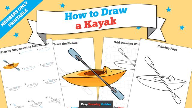 download a printable PDF of Kayak drawing tutorial