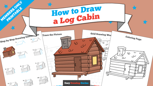 download a printable PDF of Log Cabin drawing tutorial