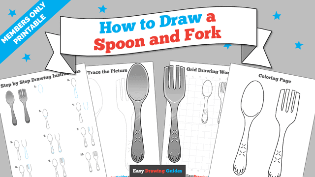 Printables thumbnail: How to draw a Spoon and Fork