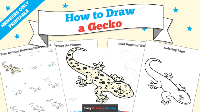 Printables thumbnail: How to Draw a Gecko