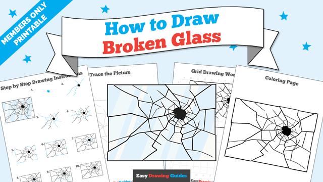download a printable PDF of Broken Glass drawing tutorial
