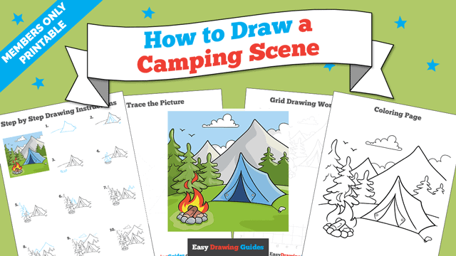 download a printable PDF of Camping Scene drawing tutorial