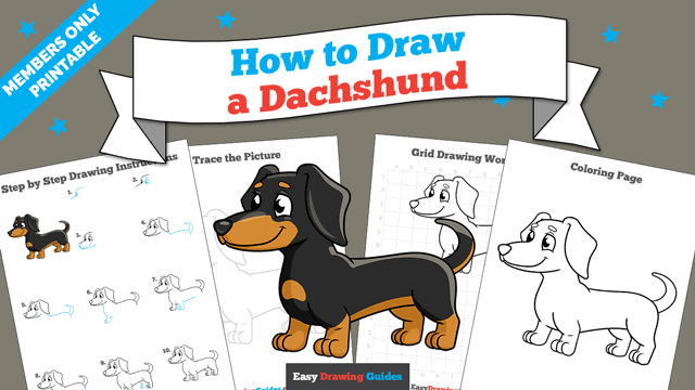 download a printable PDF of Dachshund drawing tutorial