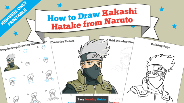 download a printable PDF of Kakashi Hatake from Naruto drawing tutorial