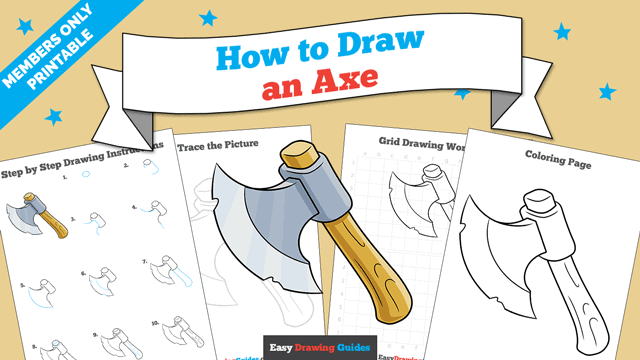 Printables thumbnail: How to Draw an Axe