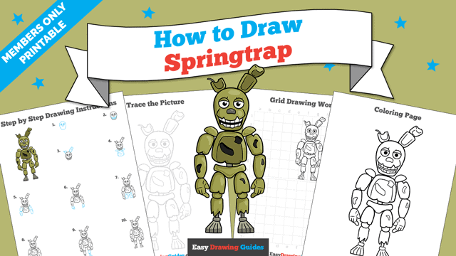 download a printable PDF of Springtrap from Five Nights at Freddy's drawing tutorial