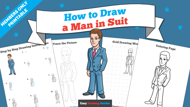 download a printable PDF of Man in Suit drawing tutorial