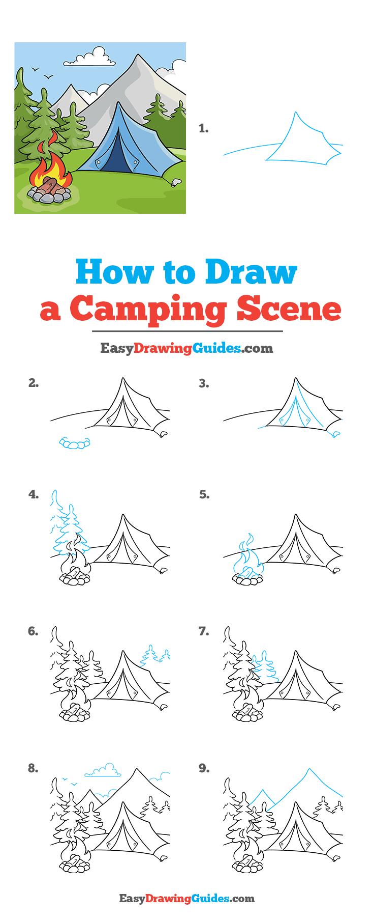 How to Draw a Camping Scene Step by Step Tutorial Image