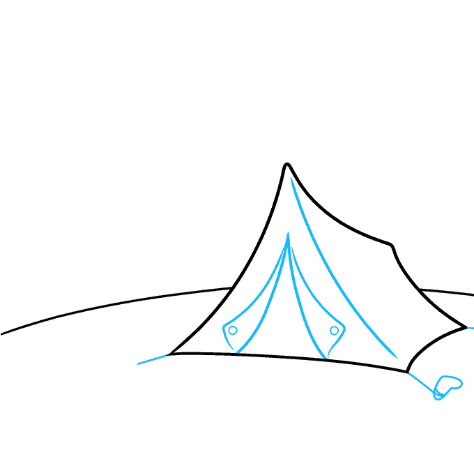 How to Draw a Camping Scene Step 02
