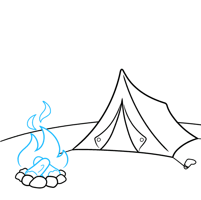 How to Draw a Camping Scene Step 04