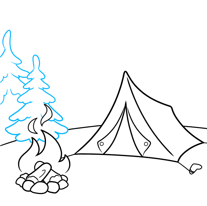 How to Draw a Camping Scene Step 05