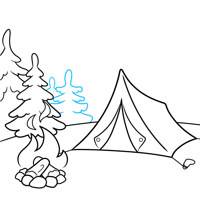 How to Draw a Camping Scene Step 06
