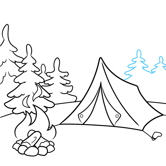 How to Draw a Camping Scene Step 07