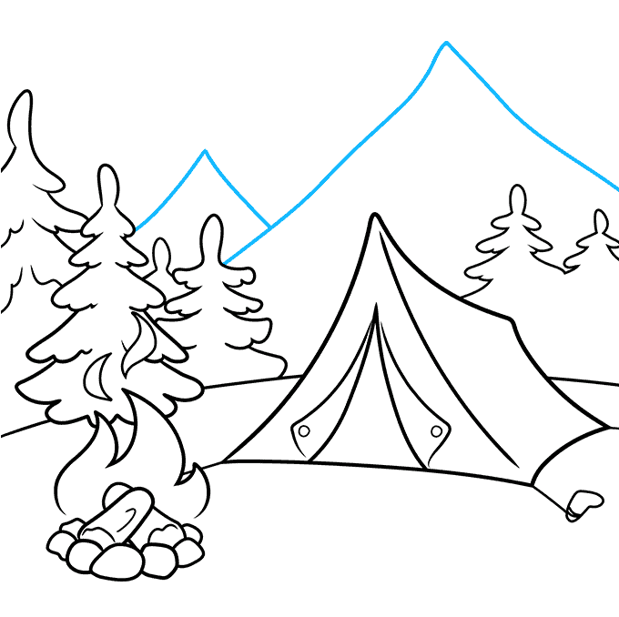 How to Draw a Camping Scene Step 08