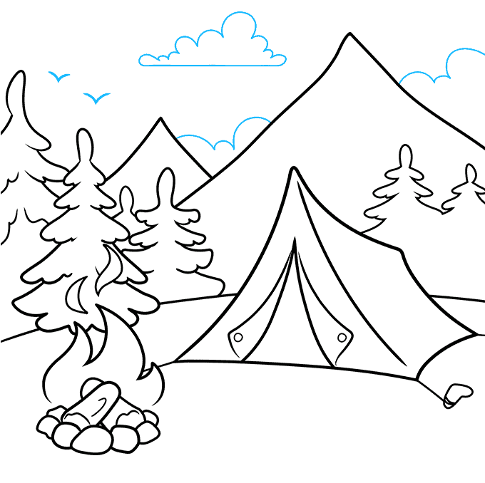 How to Draw a Camping Scene Step 09