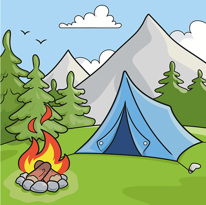 How to Draw a Camping Scene Step 10