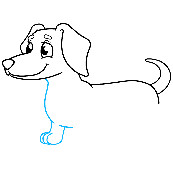 How to Draw a Dachshund Step 06