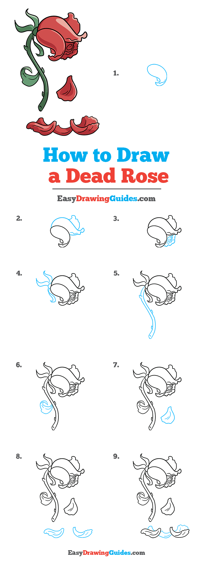 How to Draw a Dead Rose Step by Step Tutorial Image