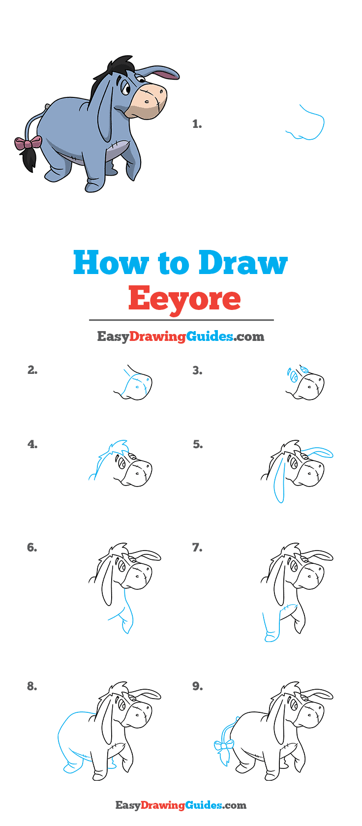 How to Draw Eeyore Step by Step Tutorial Image