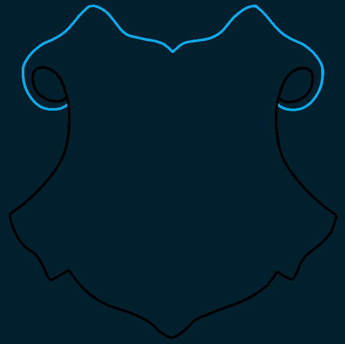 How to Draw Hogwarts Crest: Step 2