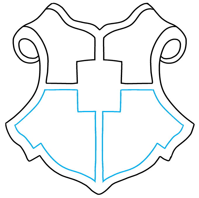 how to Draw a Hogwarts Crest Step 04
