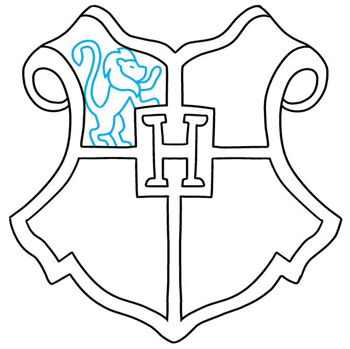 how to Draw a Hogwarts Crest Step 06