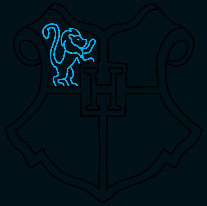 How to Draw Hogwarts Crest: Step 6