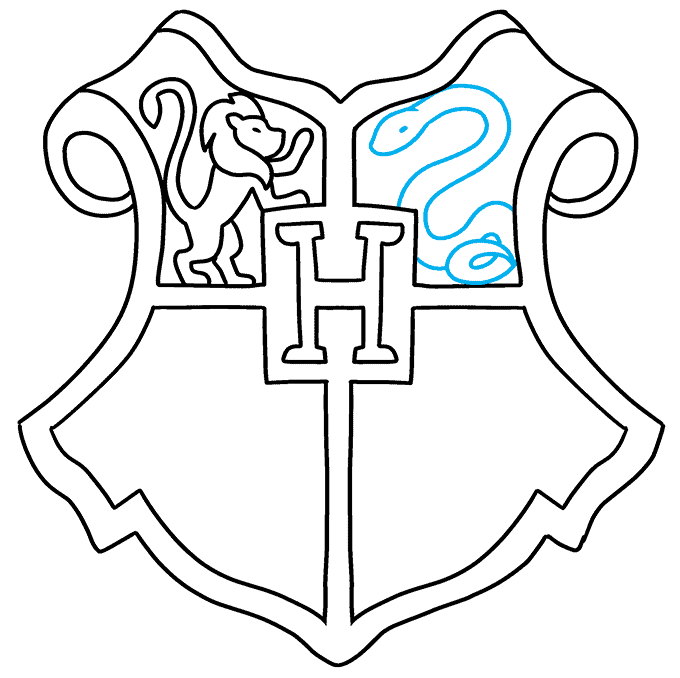 how to Draw a Hogwarts Crest Step 07