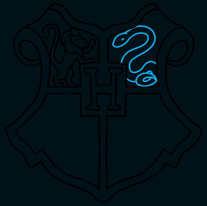 How to Draw Hogwarts Crest: Step 7
